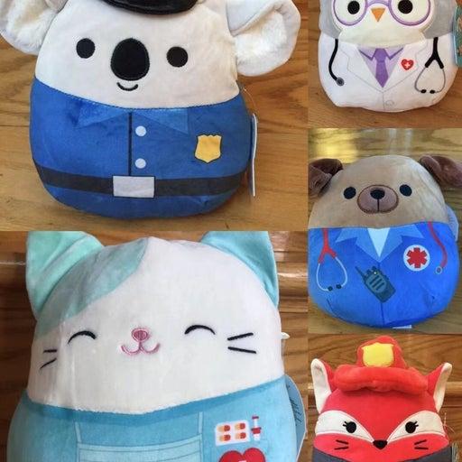 "5x8"" kellytoy Squishmallow cassie nurse & kirk & fifi & dog & owl"