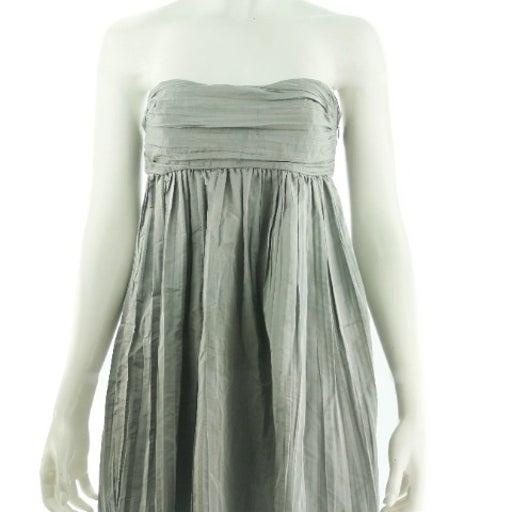 CALYPSO Grey Silk Strapless Dress Size 2