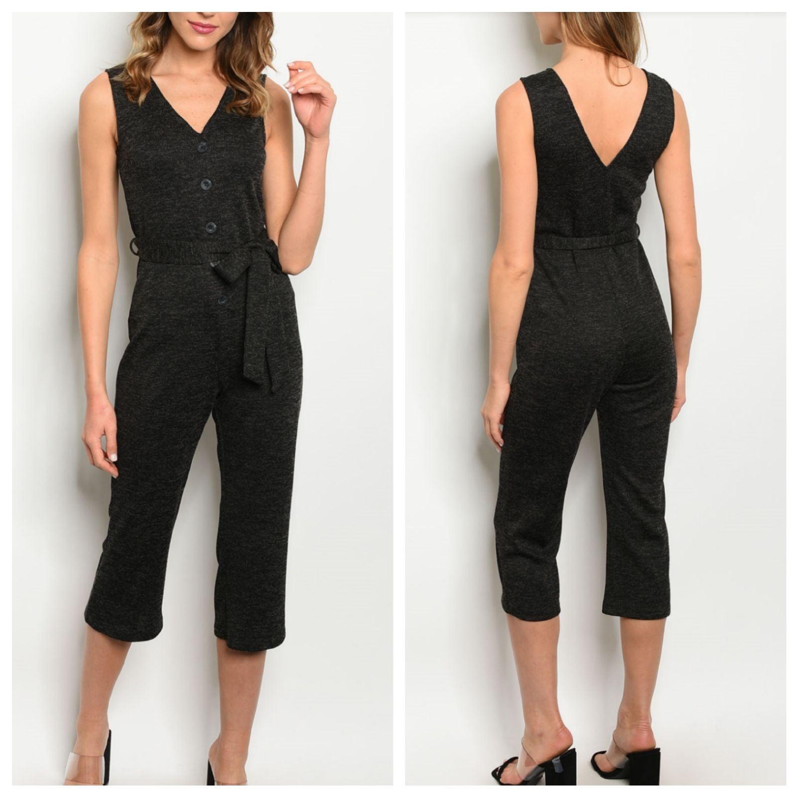Black Sleeveless V-neck Cropped Jumpsuit