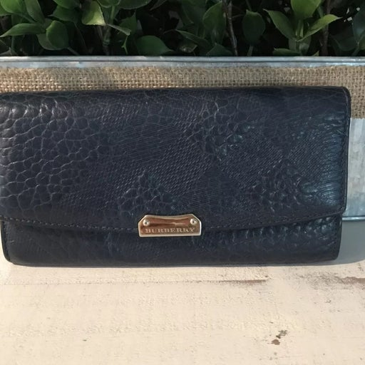 BURBERRY Grain Check Embossed Porter Continental Navy Wallet Used