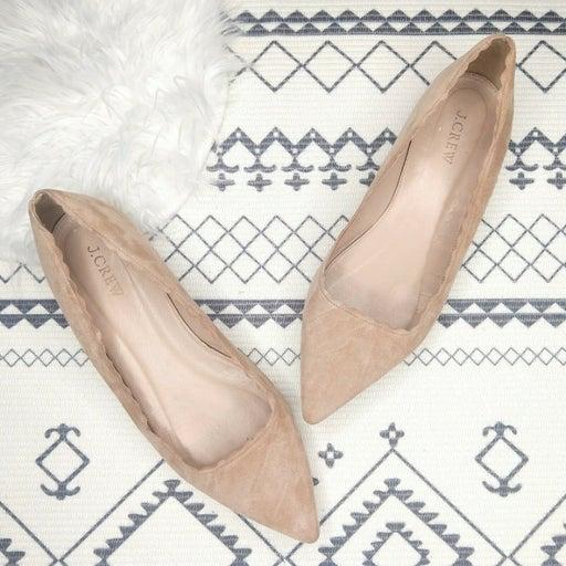 J Crew Harper Scallop Suede Flats Size 9 Beige Peach Pointed Toe Classic Ballet