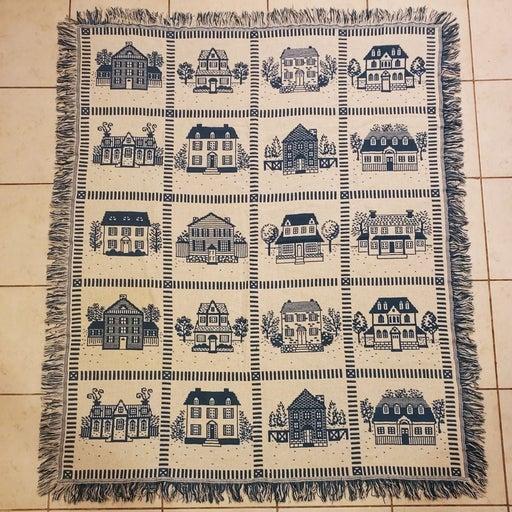 Cute Quilt House Throw Blanket