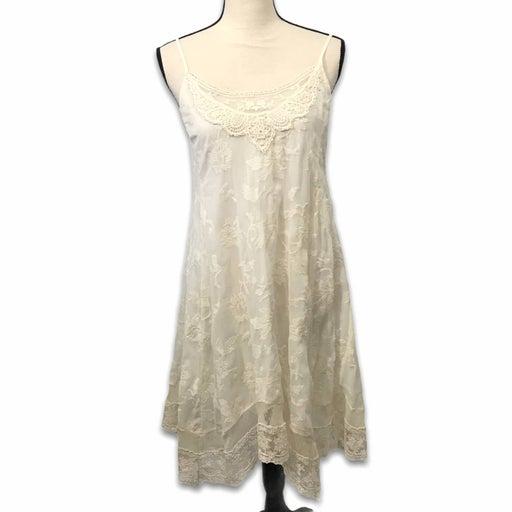 Urban Outfitters ivory gauze lace crochet asymmetrical hem dress Womens Sz S