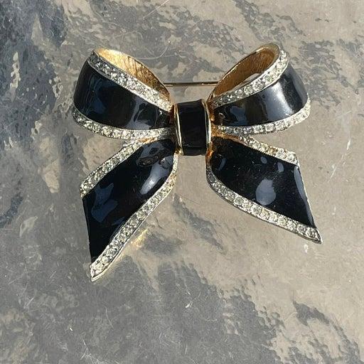 Vintage Craft signed enamel bow Brooch