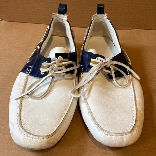 Gucci white boat loafers