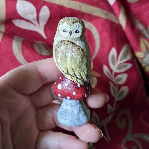Hand carved owl on mushroom decor