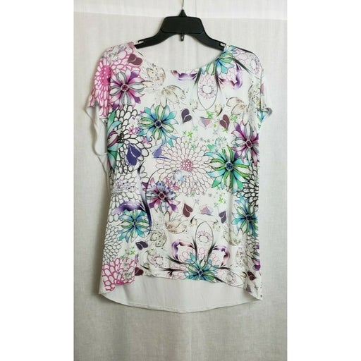 Cynthia Cynthia Rowley Top Blouse White Multicolor Floral Large NEW