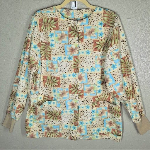 Crest Floral Warm Up Snap Scrub Jacket