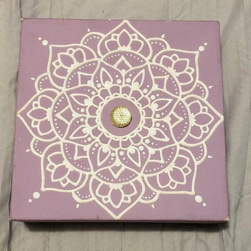 Purple and White Mandala Square Canvas