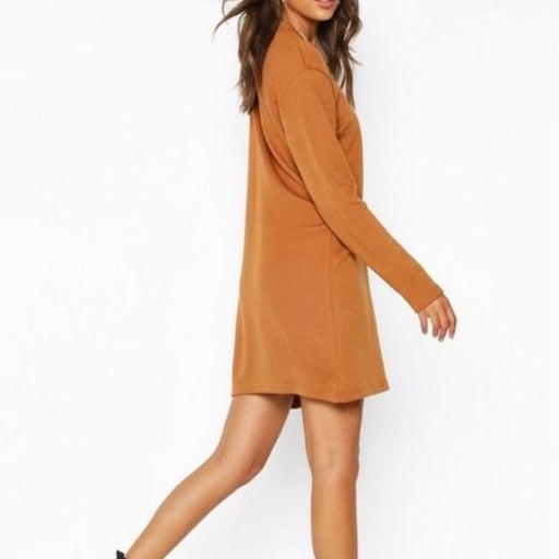 Burnt Orange Casual Oversized Sweater Dress