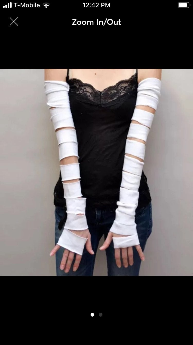 White Cut Out Corpse Bride Gloves