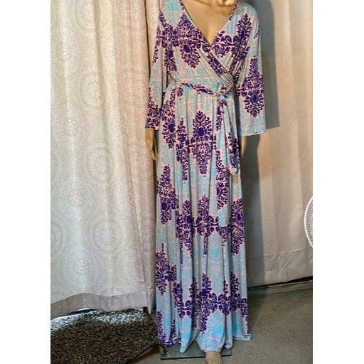 PinkBlush Maxi Dress 3/4 Sleeve Crossover Tie Waist Size 3XL BOHO PRETTY