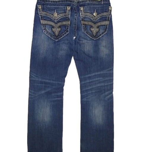 ROCK REVIVAL WYNNE STRAIGHT 29 Mens Jeans Factory Distressed