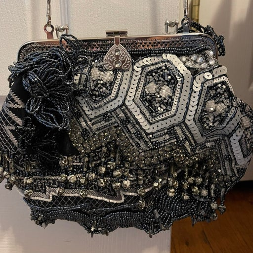 Chico's black and white beaded evening bag
