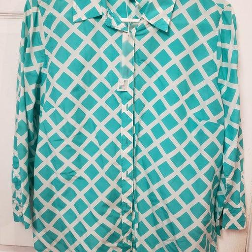 JCP dress shirt turquoise white plaid L