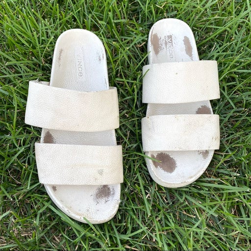 Vince white leather sandals 38 size 8
