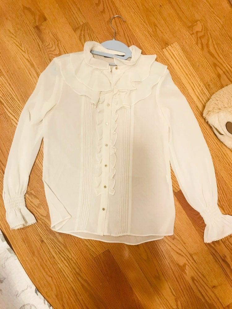 Zara beige white Blouse