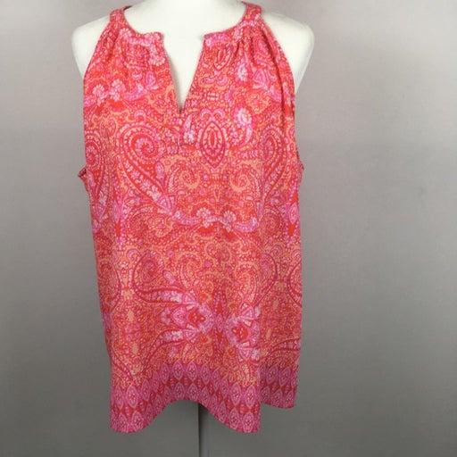 Cynthia Rowley Pink Orange Paisley Sleeveless Blouse V-Neck Polyester XL