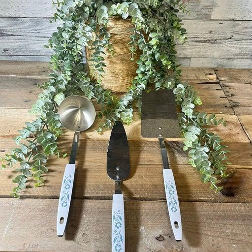 Corning Ware Blue Cornflower Utensil Set Spatula, Ladle & Pie Server