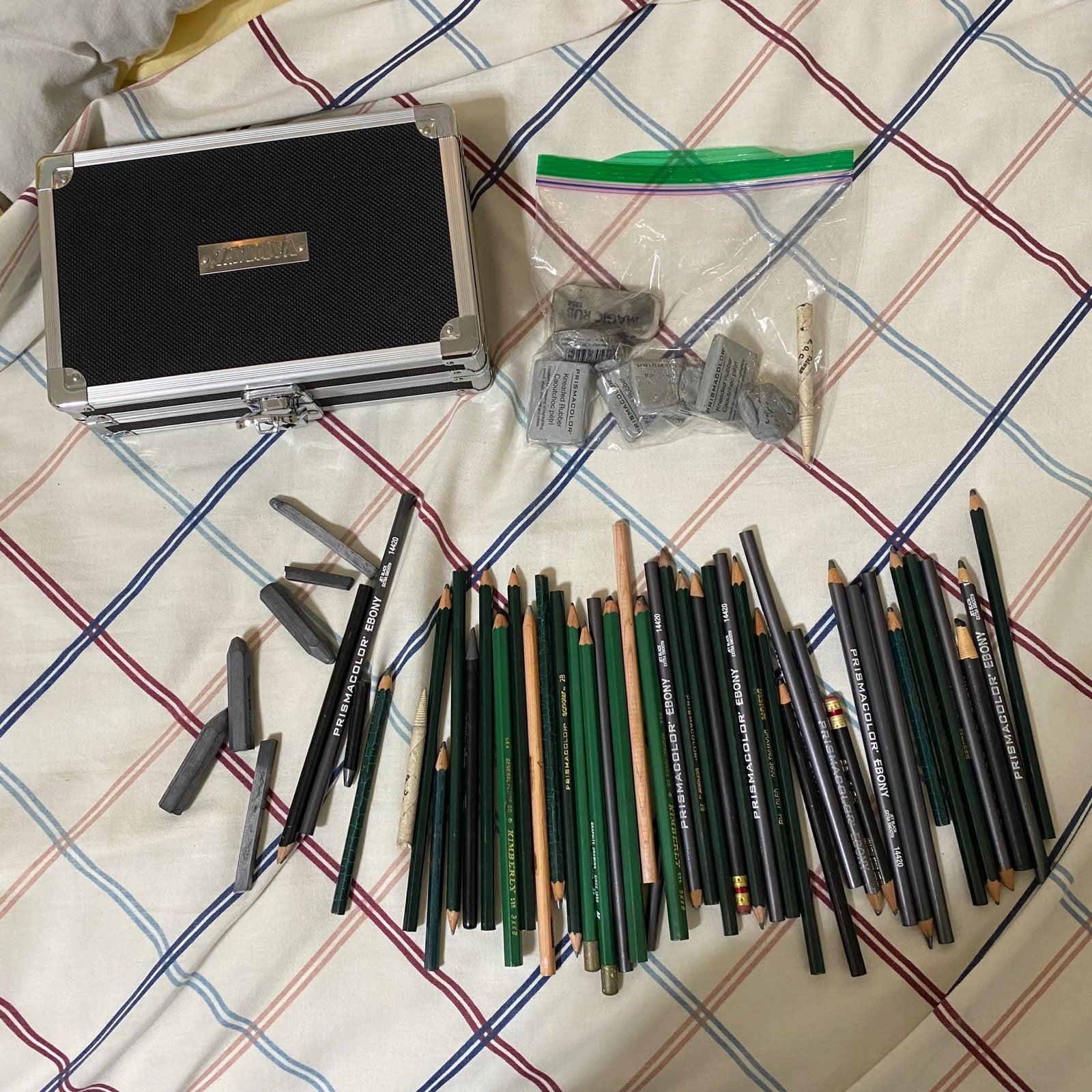 Graphite Pencils, Erasers, and Box