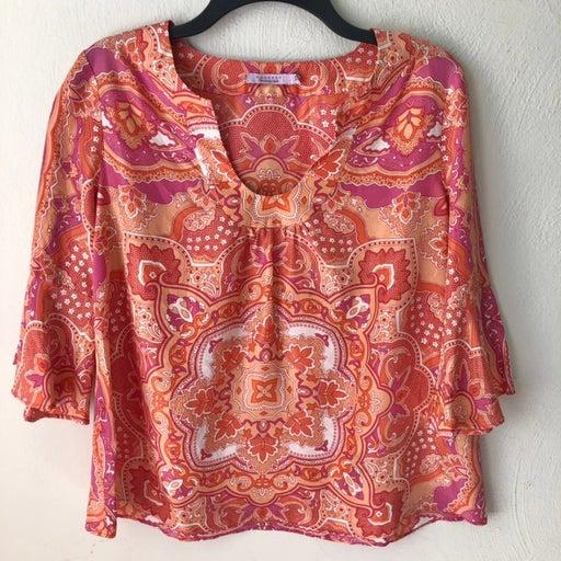 Calypso Silk Paisley Print 3/4 Bell Sleeve Blouse