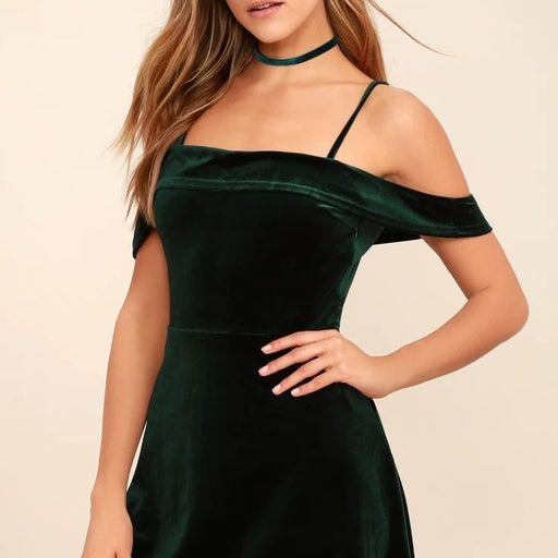 Emerald Green off the shoulder cocktail dress