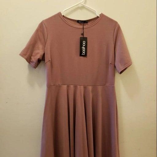 Boohoo mauve Short Sleeve Skater Dress