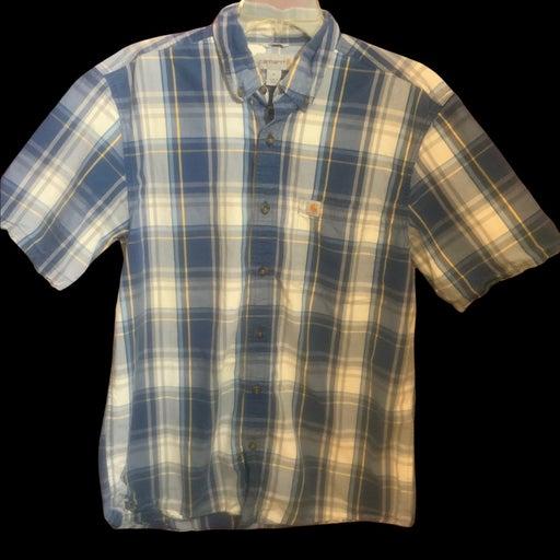 Carhart size medium dark blue and cream colored plaid shirt button down collar