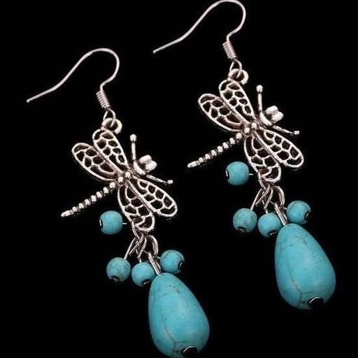 Vintage Silver Turquoise Tear Drop Beaded Dragonfly Dangle Earrings