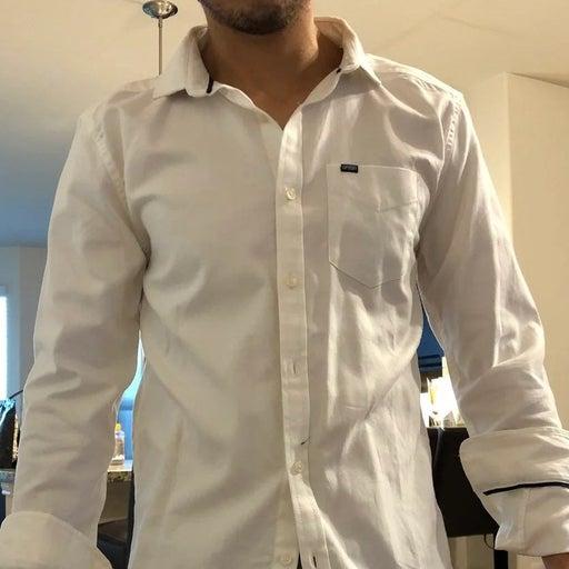 Superdry Men's Optic White Premium University Button Front L/S Pocket Shirt