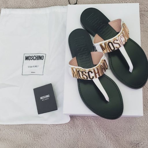 Moschino white and gold sandals