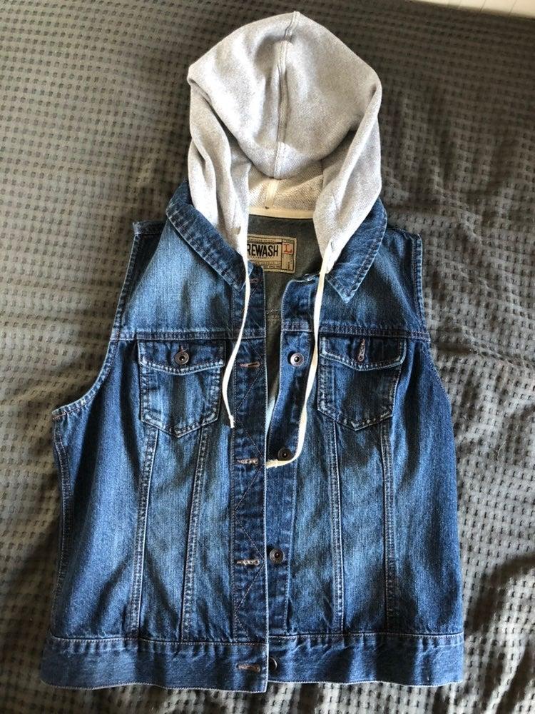 Denim Vest with hood