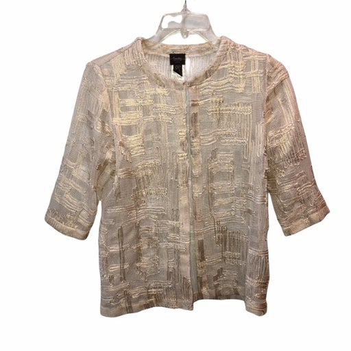 Chicos Travelers Collection Womens Size 0 Small Petite Gold Metallic Mesh Jacket