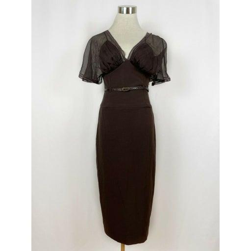 Black Halo Chiffon Sheath Dress w. Slip Dress Sz XS
