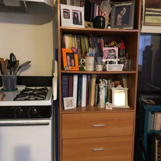 Bookcase hutch with 3 draws
