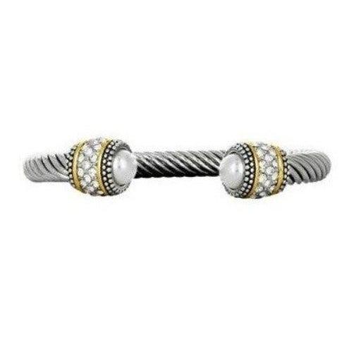 Two-Tone Cable Bangle Bracelet