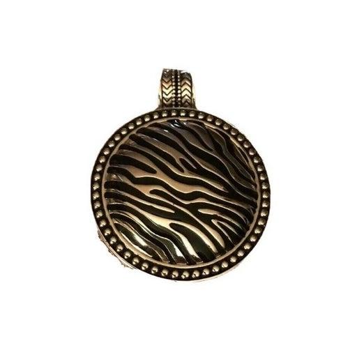 Premier Design Pendant Necklace Safari Zebra Stripe Round Silver Tone Metal