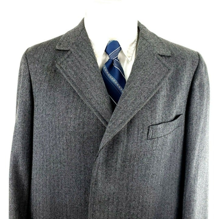 Jos A Bank 40L Herringbone Wool Trench