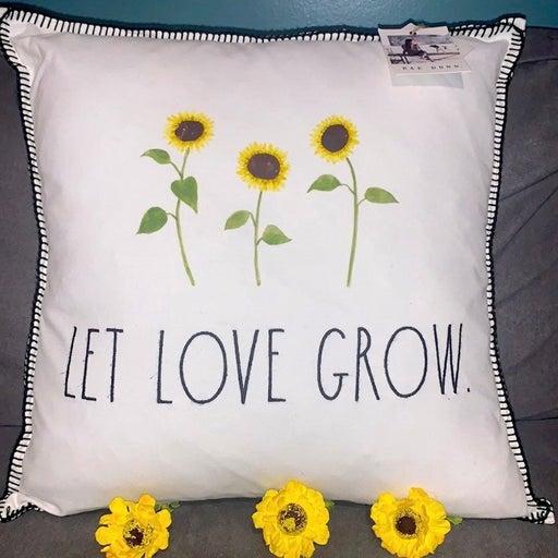 """Nwt Rae Dunn Let Love Grow Sunflower throw pillow. 20x20"""""""