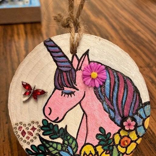 UNICORN wood disc ornament HANDPAINTED