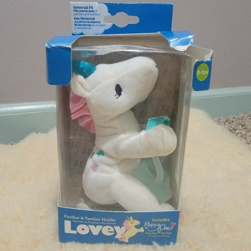 Dr Browns Lovey Pacifier and Teether Holder 0 Months+ Unicorn New Damaged Box