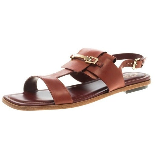 Tod's Brown Gold Hardware Sandals 6