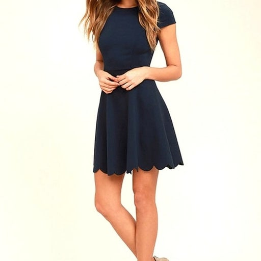 Lulu's Navy Blue Skater Dress