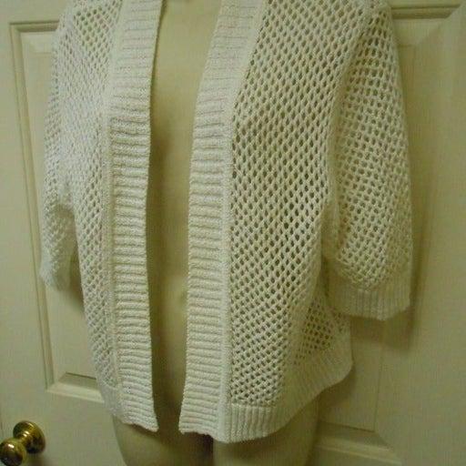 Cute Croft & Barrow white Shrug Sweater Top size XL