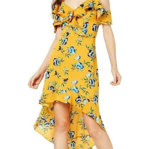 BCX Yellow Floral Ruffle Sun Dress 3 NWT