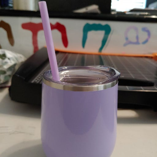 Insulated wine tumbler with straw