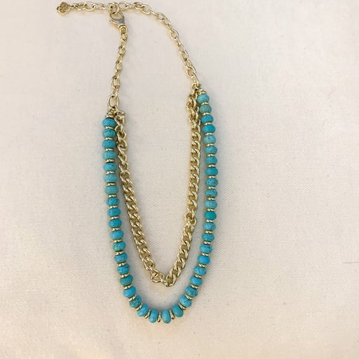 Rebecca Gold Multi Strand Necklace In Turquoise Magnesite Kendra Scott
