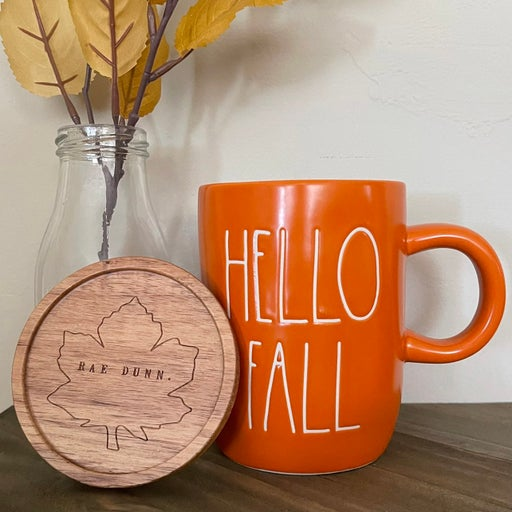 Rae Dunn Hello Fall mug with cover