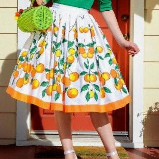 Pinup Girl Clothing Oranges Jenny Swing Skirt