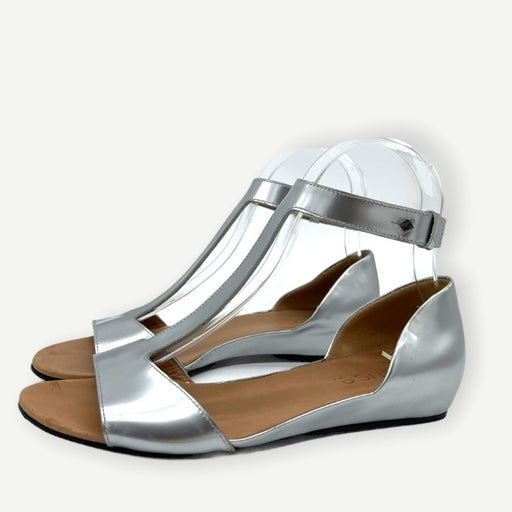 Vince Silver Leather Sandals Hidden Wedge Strappy